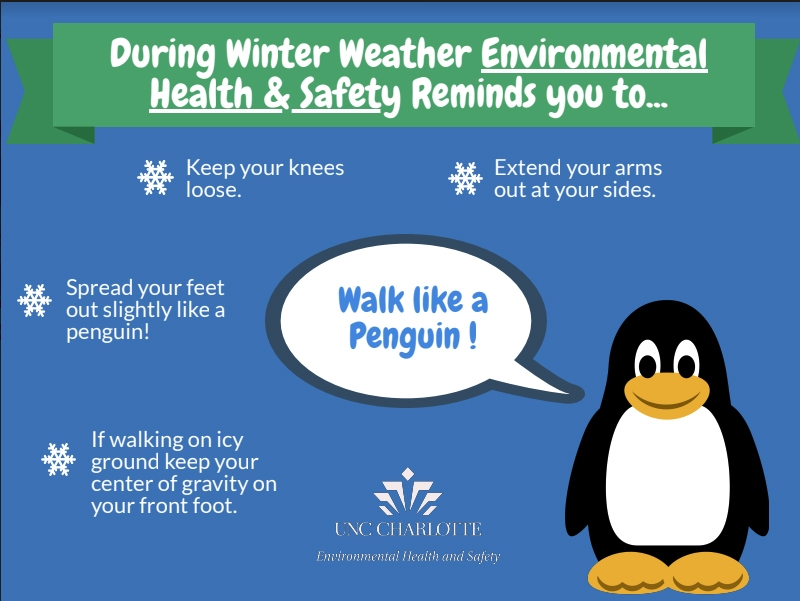 During Winter Weather Environmental Health & Safety Reminds you to: Keep your knees loose; Extend your arms out at your sides; Spread your feet out slightly like a penguin; If walking on icy ground keep your center of gravity on your front foot;