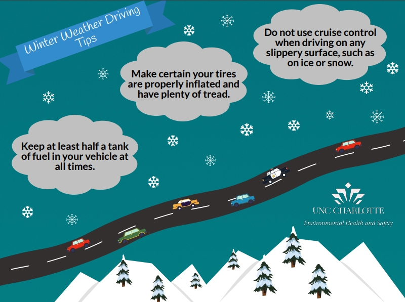 Keep at least half a tank of fuel in your vehicle at all times; Make certain your tires are properly inflated and have plenty of tread; Do not use cruise control when driving on any slippery surface, such as on ice or snows.